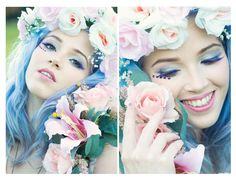 Festival Flower Girl. Shoot for Wild Flower Crowns, Makeup and Nails by Jax-Glam Mobile Beauty, Photography by Ruby Walker and Stephy H as model. Blue Lilac purple hair smile happy summer sun pink white flowers purple eyelashes