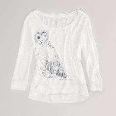 AE Owl Hi-Lo T ($20) ❤ liked on Polyvore featuring tops, t-shirts, white, long sleeve tees, long sleeve crew neck tee, crew neck long sleeve t shirt, white t shirt and white long sleeve t shirt