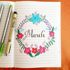 Bullet journal march spring cover page doodle