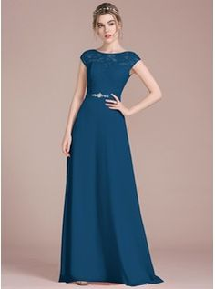 [£ A-Line/Princess Scoop Neck Floor-Length Chiffon Lace Prom Dresses With Beading Bow(s) - JJ's House Modest Formal Dresses, Mob Dresses, Formal Evening Dresses, Fashion Dresses, Lace Bridesmaid Dresses, Wedding Bridesmaid Dresses, Pretty Dresses, Beautiful Dresses, Vestidos Mob