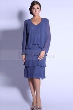 Knee-length Mother of the Bride Dress with Cropped Jacket