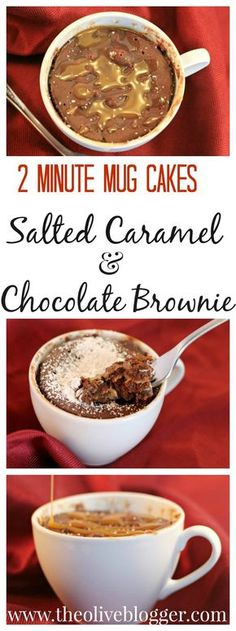 Two Minute Mug Cake Recipes! Features a Salted Caramel Mug Cake AND a Chocolate Brownie Mug Cake with a Ooey Peanut Butter middle! Your new go-to dessert any night of the week!