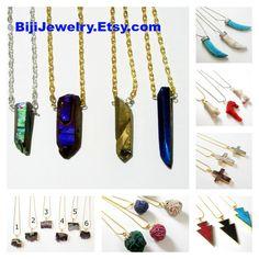 $23 #Titanium #Spike #Necklace, #Druzy #Point Raw Necklace, Crystal Quartz Spikes Necklace, Unisex #Boho Luxe #Tribal Jewelry, #Unisex Jewelry
