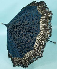 c. 1900's RARE Large Blue and Black Cut Velvet and Black Lace Parasol