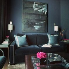 …this rich deep blue ish grey is all the rage right now.... - Decorista Daydreams