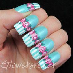 Dozen Roses - #nails #nailart #polish #flowers #bluepolish #glowstars - bellashoot.com