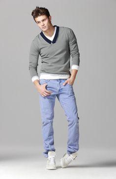 fun summer, grey v collar sweat wth black & white details, light blue pants, white sneaks / men fashion