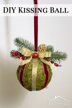 DIY Christmas Kissing Ball: It serves the same purpose as a piece of mistletoe, but is so much prettier! It's a quick and easy Christmas craft you can do in under an hour!