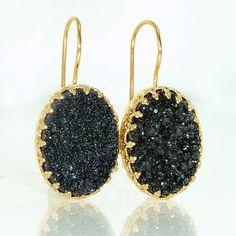 Black Druzy Earrings Druzy Drop EarringsBlack Oval by inbalmishan