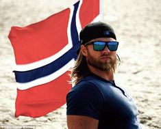 Lasse Matberg is a lieutenant with the Royal Norwegian Navy and a sports officer at the NATO Joint Warfare Center. But in addition to serving his country, Matberg has one very noticeable and distinguishing characteristic. Norwegian Men, Norwegian Vikings, Viking Men, Long Blond, Bearded Men, Oakley Sunglasses, Beautiful Men, Hot Guys, Hot Men