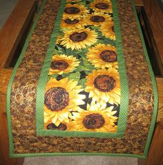 Sunflower Table Runner Quilted fabric from by PicketFenceFabric, $33.95