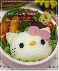 Fluffy hello kitty  sandwich bento
