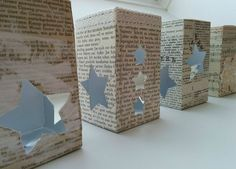Lanterns made of milk cartons .- Windlichter aus Milchtüten … Lanterns made of milk cartons More - Noel Christmas, Christmas Crafts, Christmas Decorations, Diy For Kids, Crafts For Kids, Pink Lamp Shade, Paper Box Template, Diy And Crafts, Paper Crafts