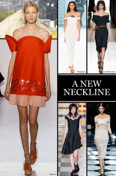 A New Neckline Portrait necklines and similar styles with exposed shoulders were both pretty and popular at the shows (seen at Balenciaga, Simone Rocha, Delpozo, among others). The off-the-shoulder look will likely pick up even more steam due to Amal Alamuddin's most recent Oscar de la Renta stunner. Photo: Imaxtreee