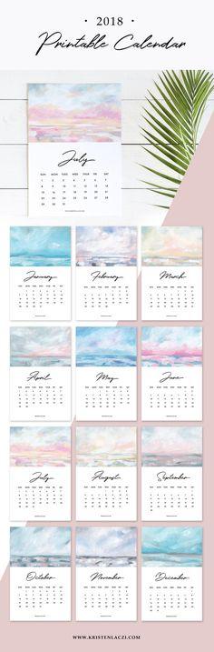2018 Printable Seascape Calendar by Kristen Laczi