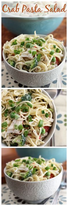 Crab Pasta Salad ~ Pasta Salad Loaded with Crab Meat, Peas, Broccoli, Green Pepper and Onion!