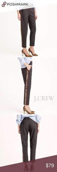J.Crew Ludlow Pant with Sequin Tuxedo Stripe BNWT. A beautiful trouser pant with a taken-from-the-boys look. Wanted badly to fit into these but they won't get past my post-baby belly to my hips. Looking for a good home!  More details/photos to come. J. Crew Pants Trousers
