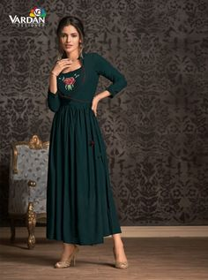 VARDAN D.NO.-21001 RATE : 641 - MIRAAZ VOL-1 BY VARDAN DESIGNER  VARDAN 21001 TO 21008 SERIES  STYLISH COLORFUL FANCY BEAUTIFUL CASUAL WEAR & ETHNIC WEAR HEAVY RAYON LONG KURTIS AT WHOLESALE PRICE AT DSTYLE ICON FASHION CONTACT: +917698955723 - DStyle Icon Fashion