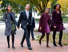 Family Affair President Barack Obama walks with First Lady Michelle Obama and First daughters Malia Obama and Sasha Obama through Lafayette Park to St John's Church to attend service.