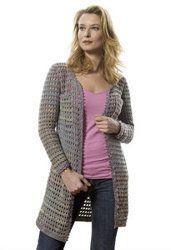 Crochet Ribbon Trimmed Jacket. Free intermediate-level pattern worked in medium, worsted, or Aran yarn.