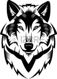 Tattoo Wolf head Stock Vector