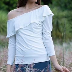 Stride out in style looking like a stunner in this off shoulder sleeve shirt. Off Shoulder Blouse, Off The Shoulder, 3 4 Sleeve Shirt, Shoulder Length, Slim, Shirts, Tops, Dresses, Women