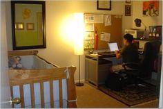 Shared Office/Nursery. Nursery Office Combo, Office Playroom, Nursery Room, Girl Nursery, Baby Room, Nursery Ideas, Cozy Home Office, Shared Office, Shared Rooms