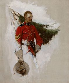 Canadian Mountie, Cosmopolitan magazine story illustration, May 1919, oil on canvs 24 x 20 in. by Dean Cornwell (American, 1892-1960)