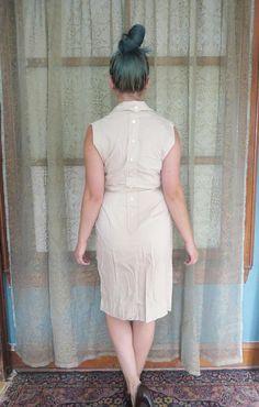 jaren 1950 kaki Wiggle jurk terug knoppen Vintage Shirtwaist