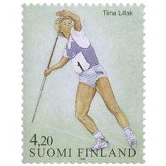 Postimerkki: Yleisurheilu - Tiina Lillak | Suomen postimerkit Postage Stamps, Paper, Seals, Finland, Sports, World, Stamps