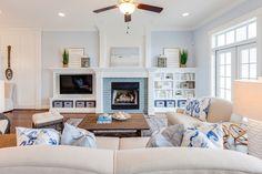 blue and white coastal family room