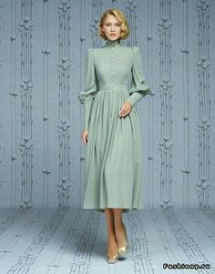 High neck prom dress long sleeve party dress chiffon short dress light green dress - High neck prom dress long sleeve party dress chiffon short dress light green dess – Alison Dress I - Vestidos Vintage, Vintage Dresses, Vintage Outfits, Vintage Fashion, Vintage Long Dress, Classic Fashion, Retro Dress, Modest Fashion, Hijab Fashion