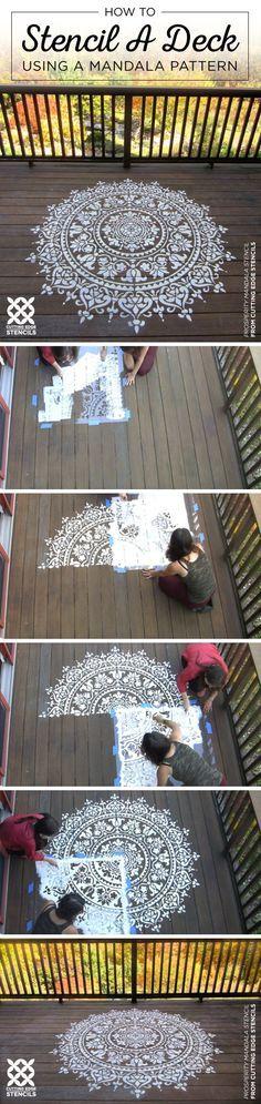 How To Stencil A Deck Using A Mandala Pattern Cutting Edge Stencils shares how to stencil a deck using a large Prosperity Mandala Stencil pattern Mandala Stencils, Stencil Patterns, Stencil Designs, Bird Stencil, Damask Stencil, Floor Stencil, Wall Stenciling, Cutting Edge Stencils, Painted Floors