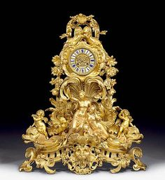 <b>IMPORTANT CLOCK,</b></i>Napoléon III in Louis XV style, the dial signed BEAURE A PARIS (active circa 1860/90), France circa 1860. <br  /> Matte and polished gilt bronze. The round case with putti, flowers, leaves and lavish scrolls, set on scrolled pedestal with animal masks, Nereides, putti and sea creatures. The bronze dial relief decorated and with 12 enamel plaques. Paris escapement striking the 1/2 hours on bell. 70x25x79 cm.   <br  />  <br  /> <i><i></b></i> Provenance: private ...