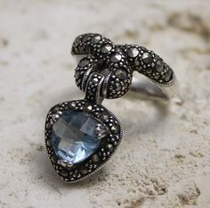 DESIGNER STYLE 925 STERLING SILVER BLUE CZ WITH MARCUSITE RING SIZE # 8  #Unbranded #Cocktail