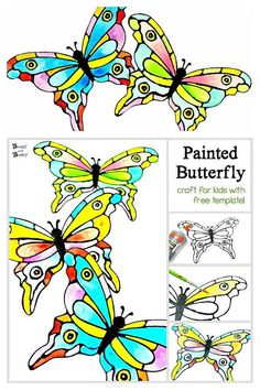 Black Glue Butterfly Art Project for kids with free butterfly template- use a fun art technique to create these colorful butterflies. Or us the free template as a coloring page for spring! Paper Butterfly Crafts, Paper Butterflies, Butterfly Art, Butterfly Mobile, Creative Activities For Kids, Craft Projects For Kids, Arts And Crafts Projects, Fun Crafts To Do, Easy Crafts For Kids