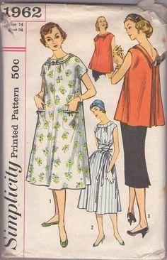 MOMSPatterns Vintage Sewing Patterns - Simplicity 1962 Vintage 50's Sewing Pattern FASHIONABLE Lucy Maternity Mix & Match V Back Pleated Blo...