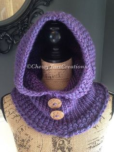 Adult Cozy Hooded Cowl Loom Knit