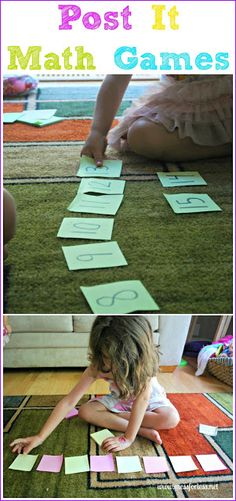 Children learn basic math concepts from fun math games you can make with Post Its.