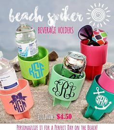 Beach Spikers are a MUST for Summer! Over 10 colors to choose from, get them personalized, too! Starting An Online Boutique, Beach Weather, Custom Beach Towels, Spring Break, Summer, A Perfect Day, Drink Sleeves, Colors, Summer Time