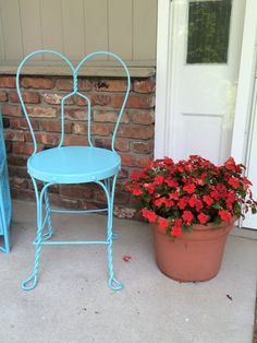 Vintage Wrought Iron Ice Cream Parlor Chair - aqua blue shabby chic