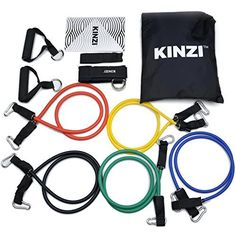Kinzi Resistance Band Set with Door Anchor, Ankle Strap, Exercise Chart & Resistance Band Carrying Case >>> Click image for more details.