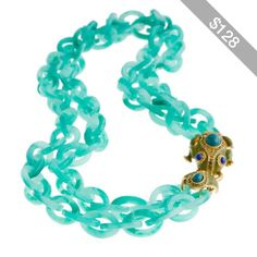 Double-strand resin link frog necklace