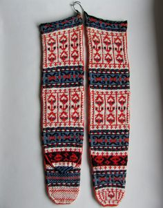 Pair of VINTAGE Handmade Knitted Folk Art TURKISH SOCKS!