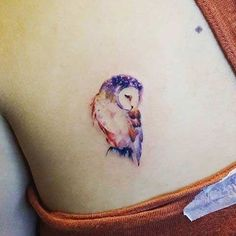 Cute Watercolor Owl Tattoo