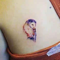 Cute Watercolor Owl Tattoo