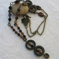 Necklace - Brown Agate with Bronze Wire and Patikan Wood.