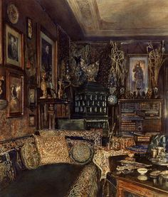 gdfalksen:  The Office of Count Lanckoronski, Vienna, 1881 by Rudolf von Alt (Austrian, 1812–1905)