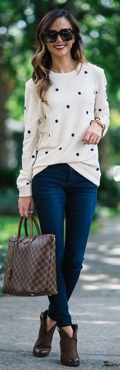 #spring #style | Polka Dot Sweater |Sequins And Things                                                                             Source