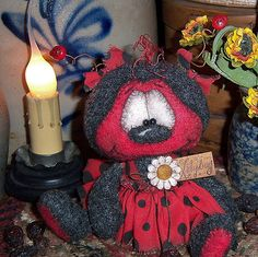 """Primitive Raggedy Ann Ladybug Bear Flower 4"""" Bug Doll Vtg Patti's Ratties Ornie"""